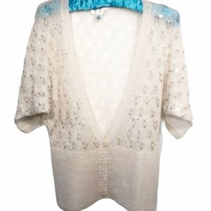 Loft vintage Cream mohair and wool cardigan SMALL